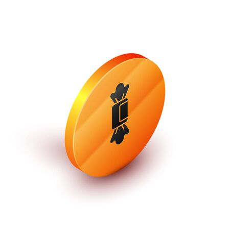 Isometric Candy icon isolated on white background. Orange circle button. Vector.