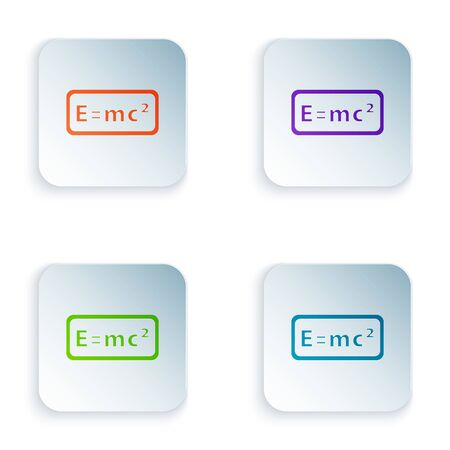 Color Math system of equation solution icon isolated on white background. E equals mc squared equation on computer screen. Set colorful icons in square buttons. Vector.