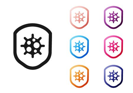 Black Shield protecting from virus, germs and bacteria icon isolated on white background. Immune system concept. Corona virus 2019-nCoV. Set icons colorful. Vector.