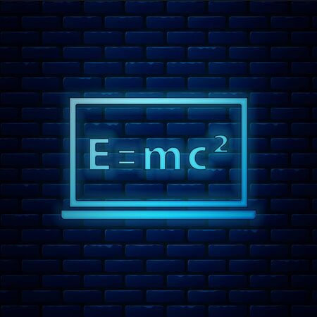 Glowing neon Math system of equation solution on chalkboard icon isolated on brick wall background. E equals mc squared equation on computer screen. Vector. Ilustración de vector