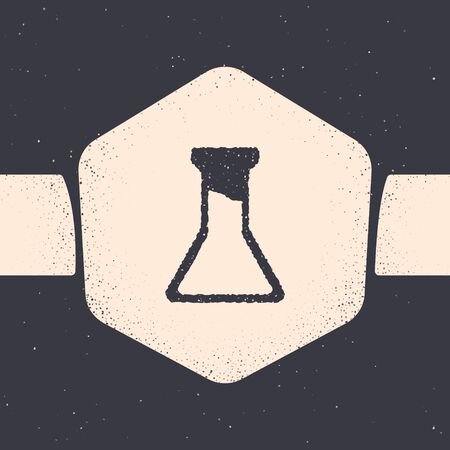 Grunge Test tube and flask icon isolated on grey background. Chemical laboratory test. Laboratory glassware. Monochrome vintage drawing. Vector. Ilustração