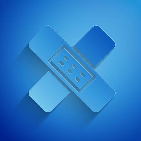 Paper cut Crossed bandage plaster icon isolated on blue background. Medical plaster, adhesive bandage, flexible fabric bandage. Paper art style. Vector Illustration. Ilustração