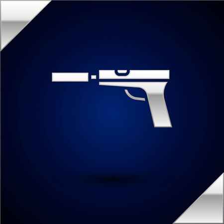 Silver Pistol or gun with silencer icon isolated on dark blue background. Vector Illustration.