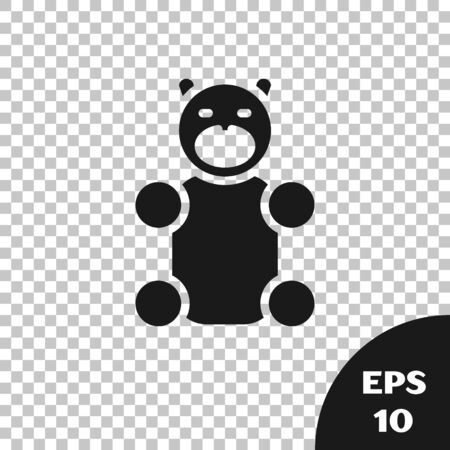 Black Jelly bear candy icon isolated on transparent background. Vector. Illustration
