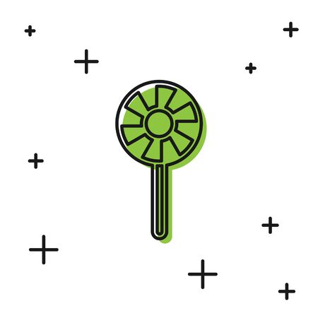 Black Lollipop icon isolated on white background. Candy sign. Food, delicious symbol. Vector.