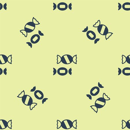 Blue Candy icon isolated seamless pattern on yellow background. Vector.