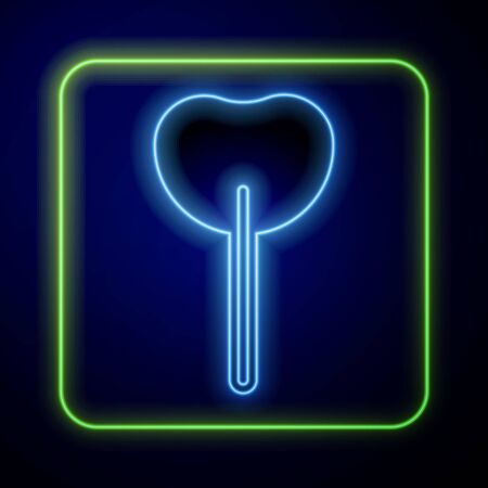 Glowing neon Lollipop icon isolated on blue background. Food, delicious symbol. Vector.