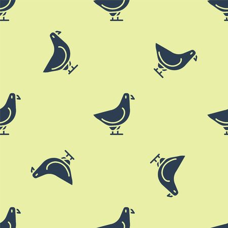 Blue Dove icon isolated seamless pattern on yellow background. Vector. Ilustrace