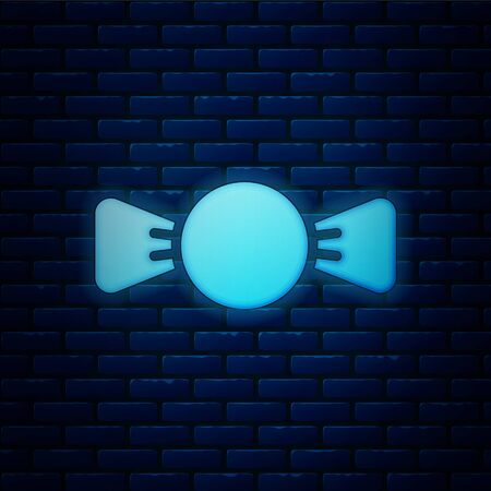Glowing neon Bow tie icon isolated on brick wall background. Vector. Foto de archivo - 150226183