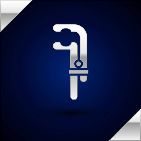 Silver Clamp tool icon isolated on dark blue background. Locksmith tool. Illustration. Ilustração