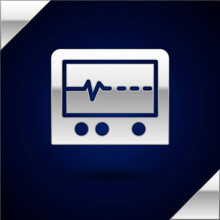 Silver Beat dead in monitor icon isolated on dark blue background. ECG showing death. Vector.
