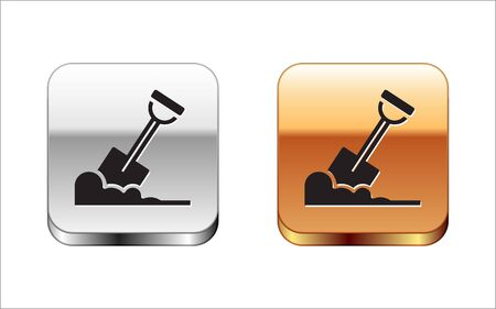 Black Shovel in the ground icon isolated on white background. Gardening tool. Tool for horticulture, agriculture, farming. Silver-gold square button. Vector.