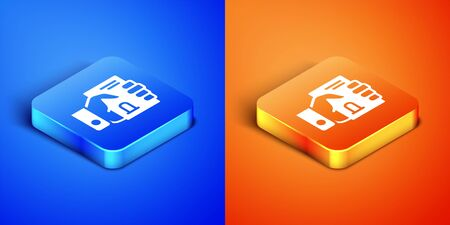 Isometric Death certificate in hand icon isolated on blue and orange background. Square button. Vector. Vettoriali