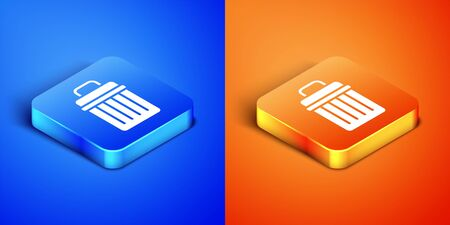 Isometric Trash can icon isolated on blue and orange background. Garbage bin sign. Recycle basket icon. Office trash icon. Square button. Vector Illustration. Stock Illustratie