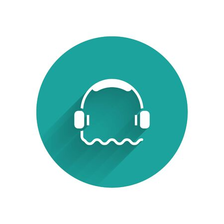 White Headphones icon isolated with long shadow. Support customer service, hotline, call center, faq, maintenance. Green circle button. Vector Illustration.