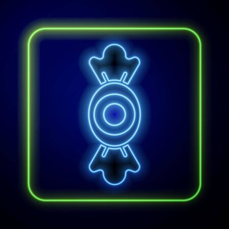 Glowing neon Candy icon isolated on blue background. Vector. Ilustracja