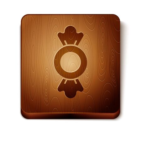 Brown Candy icon isolated on white background. Wooden square button. Vector.