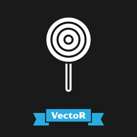 White Lollipop icon isolated on black background. Candy sign. Food, delicious symbol. Vector.