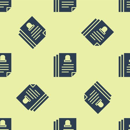 Blue Death certificate icon isolated seamless pattern on yellow background. Vector. Stock Illustratie