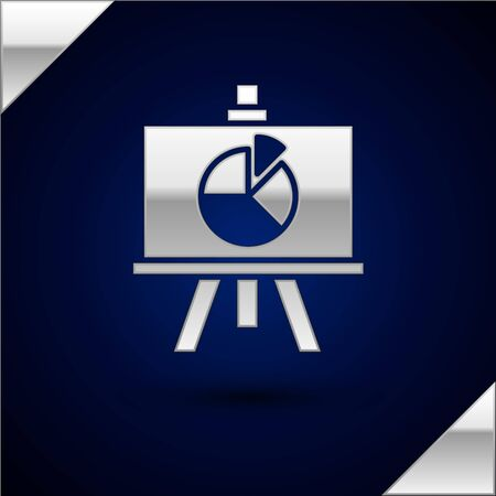 Silver Presentation board with graph, schedule, chart, diagram, infographic, pie graph icon isolated on dark blue background. Vector Illustration.
