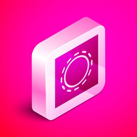 Isometric Condom in package safe sex icon isolated on pink background. Safe love symbol. Contraceptive method for male. Silver square button. Vector Illustration.