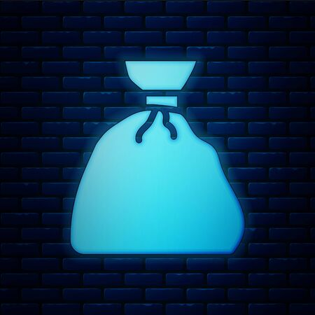 Glowing neon Garbage bag icon isolated on brick wall background. Vector Illustration. Stockfoto - 150225624