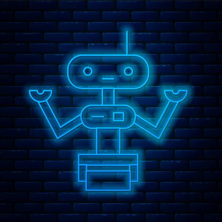 Glowing neon line Robot icon isolated on brick wall background.  Vector Illustration. Illustration