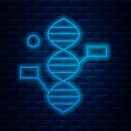 Glowing neon line DNA symbol icon isolated on brick wall background. Vector Illustration.