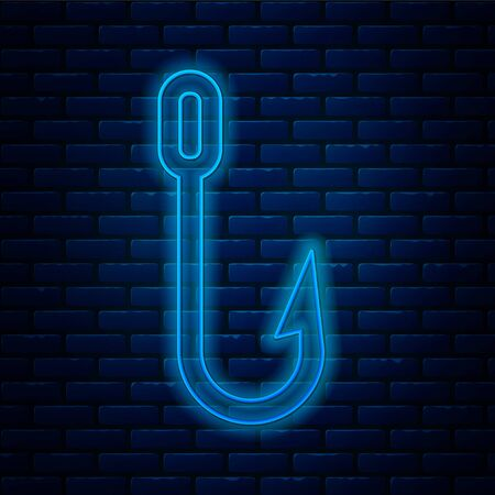 Glowing neon line Fishing hook icon isolated on brick wall background. Fishing tackle. Vector Illustration.