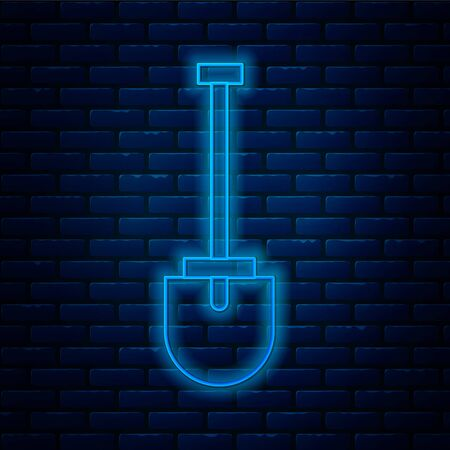 Glowing neon line Shovel icon isolated on brick wall background. Gardening tool. Tool for horticulture, agriculture, farming. Vector Illustration.