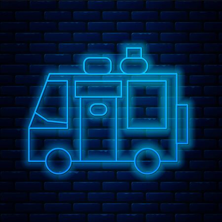 Glowing neon line Rv Camping trailer icon isolated on brick wall background. Travel mobile home, caravan, home camper for travel. Vector Illustration.