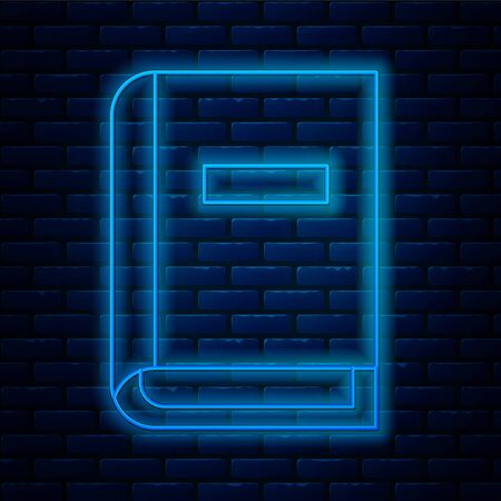 Glowing neon line User manual icon isolated on brick wall background. User guide book. Instruction sign. Read before use.  Vector Illustration.