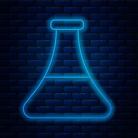 Glowing neon line Oil petrol test tube icon isolated on brick wall background.  Vector Illustration.