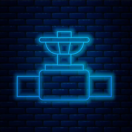 Glowing neon line Industry metallic pipe and valve icon isolated on brick wall background. Vector Illustration.