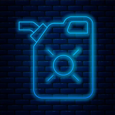Glowing neon line Canister for motor machine oil icon isolated on brick wall background. Oil gallon. Oil change service and repair. Engine oil sign. Vector Illustration.
