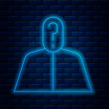 Glowing neon line Anonymous man with question mark icon isolated on brick wall background. Unknown user, incognito profile, business secrecy, obscurity.  Vector Illustration.