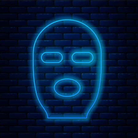 Glowing neon line Thief mask icon isolated on brick wall background. Bandit mask, criminal man.  Vector Illustration. Çizim