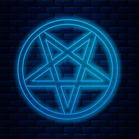 Glowing neon line Pentagram in a circle icon isolated on brick wall background. Magic occult star symbol. Vector Illustration.