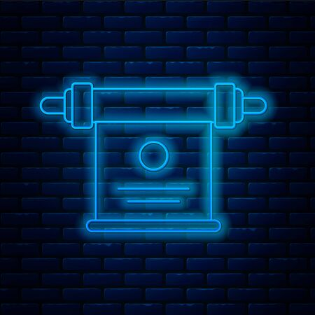 Glowing neon line Magic scroll icon isolated on brick wall background. Decree, paper, parchment, scroll icon. Vector Illustration. Illustration