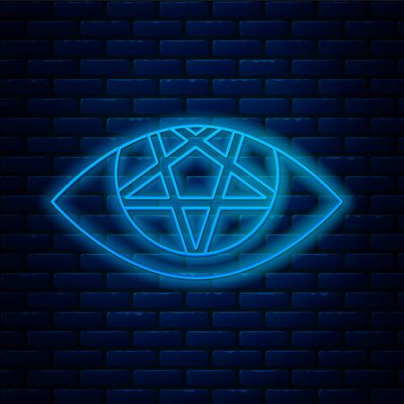 Glowing neon line Pentagram icon isolated on brick wall background. Magic occult star symbol. Vector Illustration. 写真素材 - 150349092