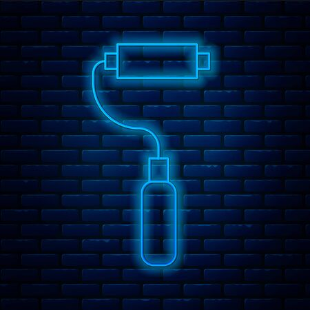Glowing neon line Paint roller brush icon isolated on brick wall background. Vector Illustration
