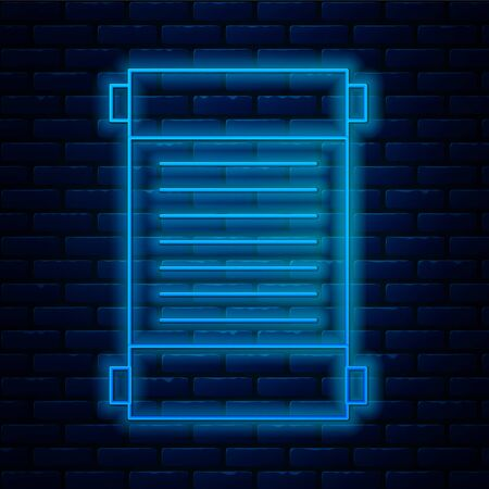 Glowing neon line Decree, paper, parchment, scroll icon icon isolated on brick wall background.  Vector Illustration. Illustration