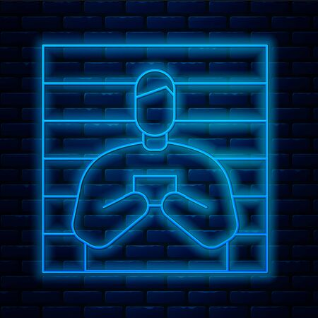 Glowing neon line Suspect criminal icon isolated on brick wall background. The criminal in prison, suspected near the board.  Vector Illustration.