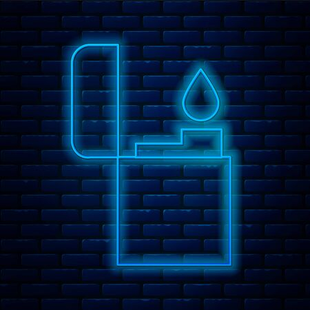 Glowing neon line Lighter icon isolated on brick wall background. Vector Illustration.