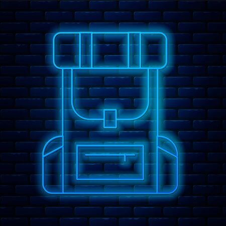 Glowing neon line Hiking backpack icon isolated on brick wall background. Camping and mountain exploring backpack. Vector Illustration