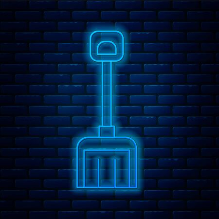 Glowing neon line Snow shovel icon isolated on brick wall background. Vector Illustration.
