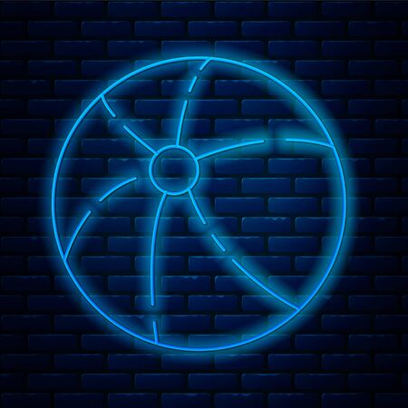 Glowing neon line Beach ball icon isolated on brick wall background. Vector Illustration