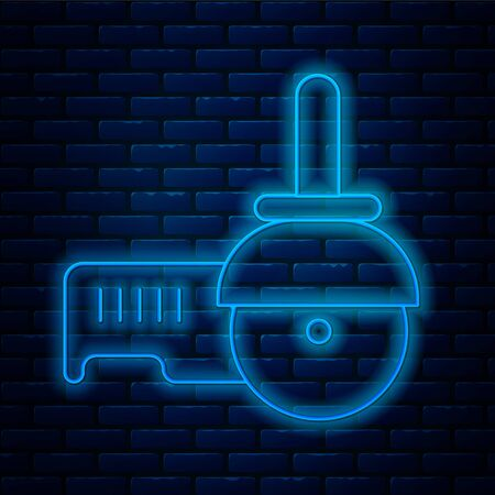 Glowing neon line Angle grinder icon isolated on brick wall background. Vector Illustration.