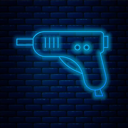 Glowing neon line Electric hot glue gun icon isolated on brick wall background. Hot pistol glue. Hot repair work appliance silicone. Vector Illustration. 向量圖像