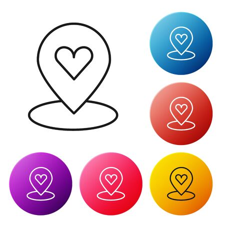 Black line Map pointer with heart icon isolated on white background. Valentines day. Love location. Romantic map pin. Set icons colorful circle buttons. Vector. Standard-Bild - 150449443